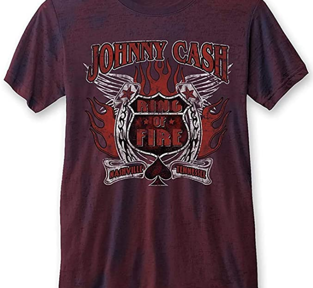 Johnny Cash – Classic 'Ring of Fire' Burnout T-Shirt