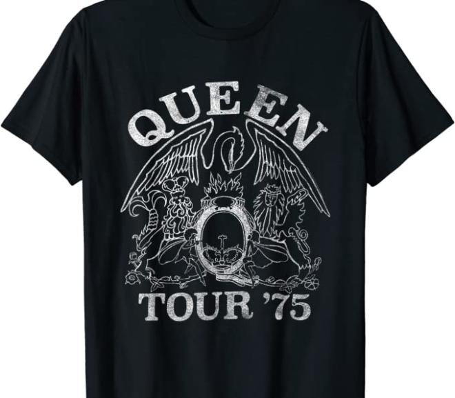Queen – Tour 75′ Crest Logo Vintage T-Shirt